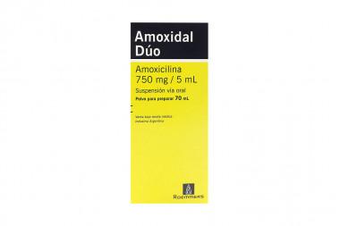 Amoxidal Dúo 750 mg /5 mL Polvo Para Preparar Caja Con Frasco Con 70 mL