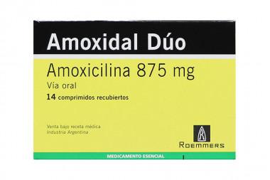 Amoxidal Dúo 875 mg Caja Con 14 Comprimidos Recubiertos