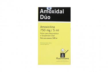 Amoxidal Dúo 750 mg /5 mL Polvo Para Preparar Caja Con Frasco Con 120 mL