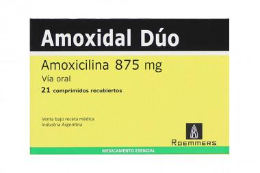 Amoxidal Dúo 875 mg Caja Con 21 Comprimidos Recubiertos