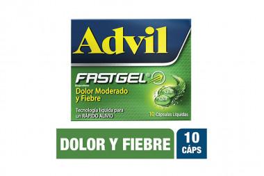 Advil Fastgel Caja Con 10 Cápsulas Liquidas - Alivia El Dolor