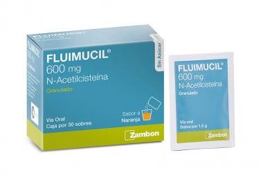 Fluimucil Sabor a Naranja 600 mg Caja Con 30 Sobres