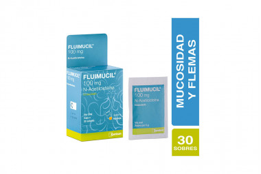 Fluimucil Granulado Sabor Naranja 100 mg Caja Con 30 Sobres