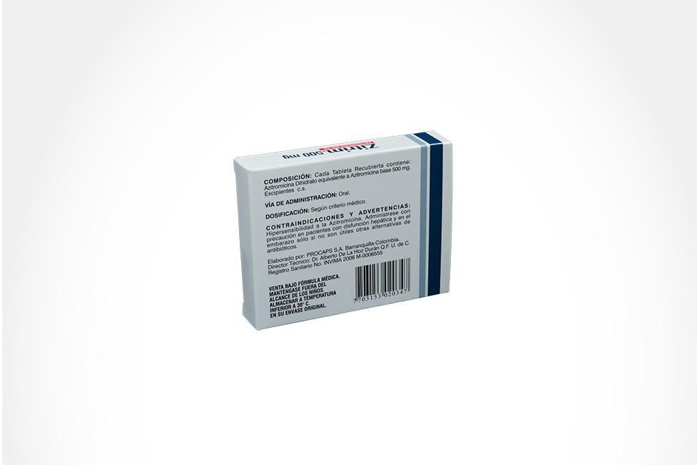 Zitrim 500 mg Caja Con 5 Tabletas Recubiertas