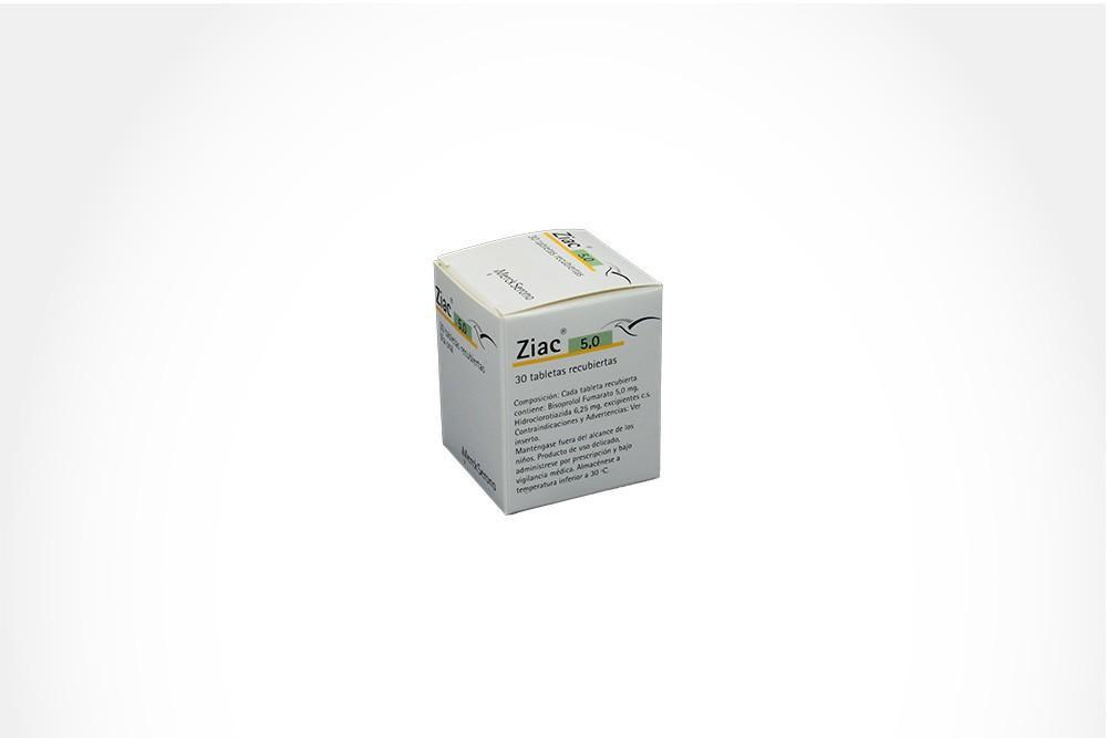 Ziac 5.0 mg Caja Con Frasco Con 30 Tabletas Recubiertas