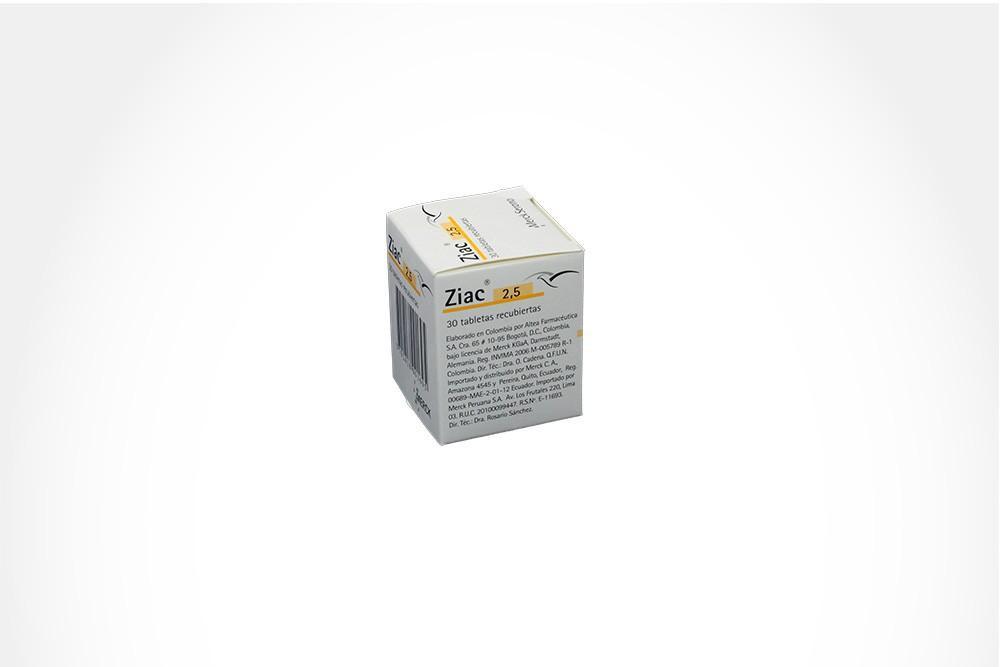 Ziac 2,5 Caja Con Frasco Con 30 Tabletas Recubiertas